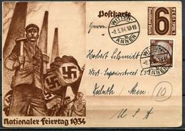 """German Empires 1934 GS Mi.Nr.P 251""""GS Zum 1.Mai,Nationaler Feiertag""""mit Zusatzfankatur Nach Den USA .""""1 GS Used - Interi Postali"""