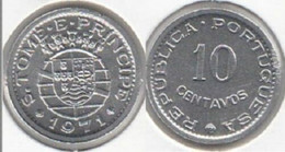 Saint Thomas & Prince Sao 10 Centavos 1971 KM15a Africa Portuguese Colony UNC - Sao Tome And Principe
