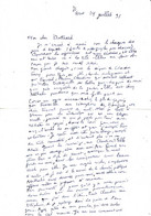 HENRI THOMAS , Superbe Lettre   AUTOGRAPHE à JEAN DUTOURD , 1991 - Autographes