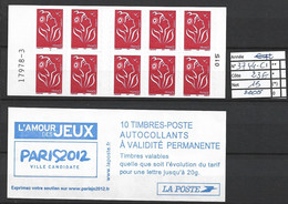 ANNEE 2005. SPLENDIDE LOT DE LUXE CARNET. Non Pliée, Neuf (**) N° 3744-C1 (15), Gomme D'origine. Côte 23.00 €. - Unused Stamps