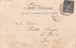 MANCHE CP 1908 QUINEVILLE FACTEUR BOITIER TYPE 84 SUR SAGE - 1877-1920: Semi Modern Period