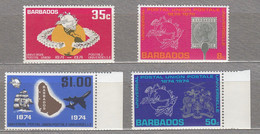 BARBADOS 1974 UPU MNH(**) Mi 381-384 #27493 - Barbados (1966-...)