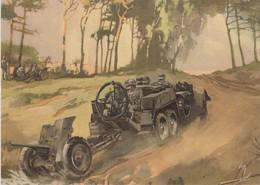 CARTE PROPAGANDE ALLEMANDE GUERRE 39-45 - VÉHICULE D'ARTILLERIE - CANON - War 1939-45