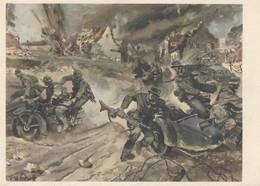 CARTE PROPAGANDE ALLEMANDE GUERRE 39-45 - KRADSCHÜTZEN - SIDE-CARS AU COMBAT - War 1939-45