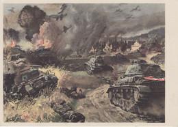 CARTE PROPAGANDE ALLEMANDE GUERRE 39-45 - PANZER UND STUKA IM ANGRIFF - CHARS ETAVIONS STUKAS AU COMBAT - War 1939-45