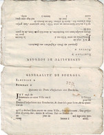 GENERALITE DE BOURGES Cher QUITTANCE AUX BOUCHERIES 1740 Deux En Tete Beche Neufs , Empreintes Fiscales Au Verso - ....-1700: Précurseurs