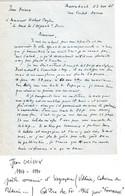 JEAN ORIEUX Gd Prix De L' Academie Francaise 1946  Superbe Lettre AUTOGRAPHE SIGNEE - Autographs