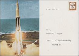 Privatpostkarte PP 26/1 Firma Sieger Weltraumfahrt Drucksache 7 Pf. Postfrisch - Enveloppes Privées - Neuves