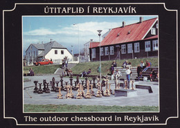 Iceland PPC Útitaflid í Reykjavik The Outdoor Chessboard In Reykjavik Chess Schach Échecs Edit. Sólarfilma No. 504 - Islandia