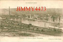 CPA - EPERNAY En 1935 - Gare Avec Train - Le Pont De La Marne Vue Générale Aérienne - 51 Marne - Ed. Lib. J. Bracquemart - Stations - Met Treinen