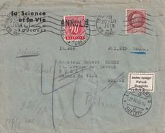 FRANCE 1943 LETTRE CENSUREE DE TOULOUSE  TAXE SUISSE ANNULEE  REFUSEE ET RETOUR - WW II