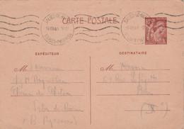 Cachet SALIES DE BEARN Basses Pyrénées 14/8/1941 Sur Entier Carte   Yvert 431 CP1 Pour Paris - WW II
