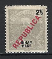 """Portugal Inhambane Mozambique 1917 """"D. Carlos I"""" Republica Local Condition MH OG #89 - Inhambane"""