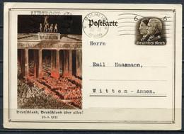 """German Empires 1934 GS Mi.Nr.P 250 """"Machtergreifung Durch A.Hitler, Brandenburger"""" Mit MWST"""" Mülheim A.d. Ruhr """"1GS Used - Interi Postali"""