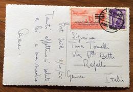 PORT SAID - JONAD STREET - POST CARD 2 Mils Sovrastampato (FINE REGNO FARUK) 16/10/55  TO RAPALLO - ITALY - Mundo