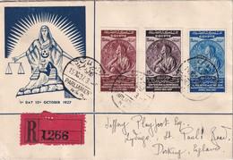 EGYPTE 1937 LETTRE RECOMMANDEE D U CAIRE AVEC CACHET ARRIVEE DORKING - Covers & Documents