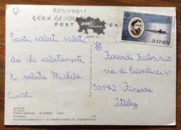 JERSEY - POST CARD VEDUTE  WITH EUROPA  22 P. PER FIRENZE  - 1985 - Mundo