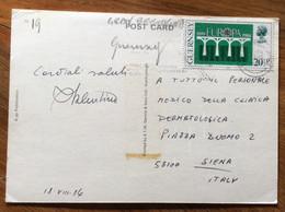GUERNSEY - POST CARD BEC DU NEZ AND FERMAIN CLIFFS -   WITH EUROPA  20,5 P. PER SIENA   - 18 VIII 84 - Mundo