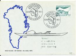 Greenland Card Kayak Post TASIUSSAK KAK ORTOK 30-8-1972 With Cachet Sent To Denmark - Cartas