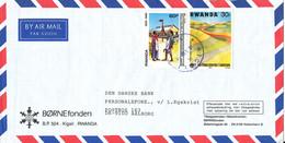 Rwanda Air Mail Cover Sent To Denmark 19-4-1990 - 1990-99: Oblitérés