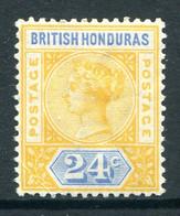 British Honduras 1891-1901 QV - 24c Yellow & Blue HM (SG 60) - British Honduras (...-1970)