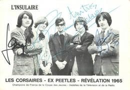 """AUTOGRAPHES Des CINQ MEMBRES Du GROUPE """"LES CORSAIRES"""" - REVELATION 1965 - VEDETTES RAIO TELEVISION (11 X 15 Cm) TB ETAT - Autógrafos"""