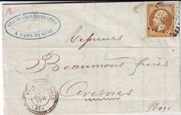 10 C Empire N° 13 Obl PC 4384 Cachet 22 De SAINS DU NORD Lettre Novembre 1861 .;. Ind 17 = 240 Euros - 1849-1876: Classic Period