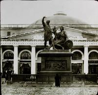 RUSSIE MOSCOU - PLAQUE DE VERRE  - STATUE DE ????      3 SCANS - Diapositivas De Vidrio