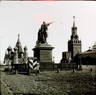 RUSSIE MOSCOU ??? - PLAQUE DE VERRE  - LA PLACE ROUGE   3 SCANS - Diapositivas De Vidrio