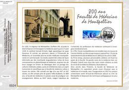"""2020 : """" 800 ANS DE LA FACULTE DE MEDECINE DE MONTPELLIER """" Sur Feuillet CEF Sur Soie N° YT 5404. Parfait état FDC - Medicina"""