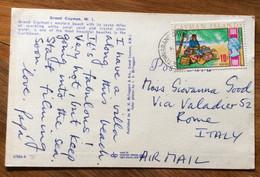CAYMAN ISLANDS  - POST CARD PAR AVION  With CAYMAN ISLANDS 10 C.   To ROMA  - ITALY - Mundo