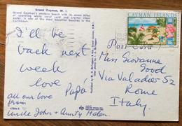 CAYMAN ISLANDS - POST CARD PAR AVION  With CAYMAN ISLANDS 12 C.   To ROMA  - ITALY - Mundo