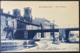 CPA RIVE DE GIER RUE DE LYON (42 Loire ) ANIMEE GARCONS PECHEUR CYCLISTE VELO - Rive De Gier
