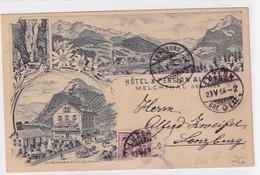 Melchthal - Hotel Alpenhof - Vorläuferlitho - 1894 !!         (P-329-10116) - OW Obwald