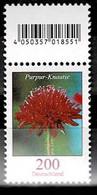 Bund 2020,Michel# 3556R ** Blumen: Purpur-Knautie, Mit Rollen-EAN - Rollenmarken