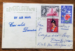 FIJI - MEKE WESI SPEAR DANCER TYPES FOLKLORE -  POST CARD Par Avion  With 6+9+3 D.  To FIRENZE ITALY - Mundo