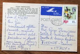 FIJI - FIJIAN FIREWALKING  -  POST CARD PAR AVION  With 15 C.   To FIRENZE CASCINE - ITALY - Mundo