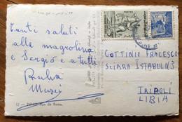 TUNISIA  - TUNIS RUE DE ROME   -  POST CARD PAR AVION  With  5 + 15F.   To TRIPOLI LIBIA - Mundo