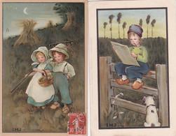 381787Jongen In Klederdracht Zit Op Hek – Meisje En Jongen Zijn Klaar Met Het Hooien 1912 (M. Munk)(rechts Boven Een K - Autres Illustrateurs