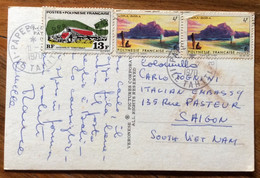 POLYNESIE FRANCAISE -  POST CARD PAR AVION  FROM TAHITI PAPEETE With 13+4+4 F.  To SAYGON - Mundo