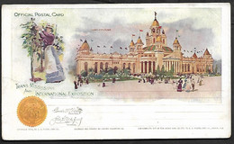 USA 1898 Official Postal Card Stationary Trans Missisippi Horocolture Gardening Architecture Statue Flag - America (Other)