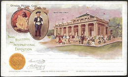 USA 1898 Official Postal Card Stationary Trans Missisippi Boy And Girl Architecture Statue Flag Omaha Exposition - America (Other)