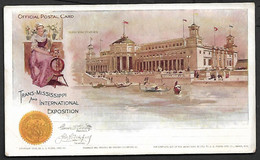 USA 1898 Official Postal Card Stationary Trans Missisippi Manufactures Architecture Statue Flag Omaha Exposition Gondol - America (Other)