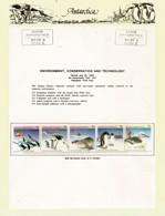 Antarctic Animals:Emperor & Adelie Penguins,Albatross,on Official Presentation Sheet With Base Davis Antarctica Stamp ** - Fauna Antártica