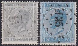 Belgie   .  OBP   .   17A/18A    .    LP135         .      O .    Gebruikt  . / .   Oblitéré - 1865-1866 Linksprofil