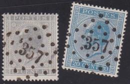 Belgie   .  OBP   .   17A/18A    .    LP357        .      O .    Gebruikt  . / .   Oblitéré - 1865-1866 Linksprofil