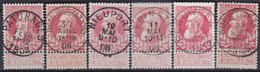 Belgie   .  OBP   .   174  6x   .  Stempels  .      O .    Gebruikt  . / .   Oblitéré - 1905 Grove Baard