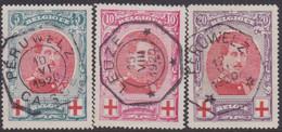 Belgie   .  OBP   .   132/134     .      O .    Gebruikt  . / .   Oblitéré - 1914-1915 Red Cross