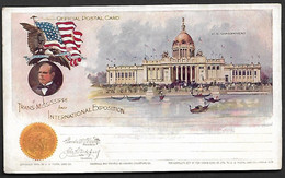 USA 1898 Official Postal Card Stationary Trans Missisippi U.S Goverment Architecture Statue Flag Omaha Exposition Gondol - America (Other)