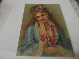 Grand Chromo Découpis Portrait De Femme 11,5 Cm Sur 16,5 - Sonstige